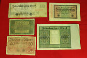 Lot 5 Pcs. Germany Mark 1918-1923 Old Banknotes Collection 002