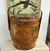Antique 21 Chinese Bamboo And Wood 1858 Wedding Basket With Chinese Lady