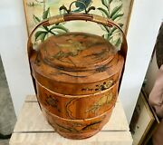 Antique 19 Chinese 1800s Lunch/wedding Box With Chinese Boy Signed By Li Susan