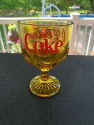 Vintage Enjoy Coca-cola Coke Goblet Amber Yellow Glass With Red Lettering Nice