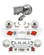 1958-68 Chevy Impala Front Rear Red Wilwood Disc Brake Chrome Booster Fixed Valv