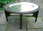 Antique Oval Anglo Indian Fully Carved Folding Side Table With Inset Tray