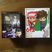 Pokemon Nendoroid Red And Green 612 + Giovanni And Mewtwo 875 Action Figure Set
