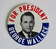 Vintage 1968 George Wallace For President Political Pin Back Button Alabama Usa