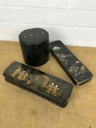 Three Antique Chinese Wooden Lacquered Gilt Painted Picture Trinket Boxes