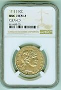 Scarce 1913 S Barber 50 Cents Ngc Uncirculated Details