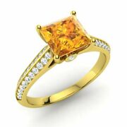 Princess-cut Natural Citrine And Diamond Engagement Ring In 14k Yellow Gold