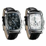 Menand039s Roman Numerals Square Dial Leather Band Date Time Zone Quartz Wrist Watch