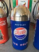 Vintage Pepsi-cola Trashcan 29 Tall 15 Gal. S.s. Top With Liner Can Ship