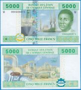 Central African States 2009 5000 Francs P-209u Cameroun Unc Us-seller