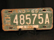 1965 Truck License Plate Yom Indiana 48575a Truck 4000 Green White