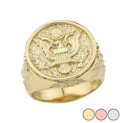 Solid Gold Us Army Ring In Gold 14k Yellow/rose/white