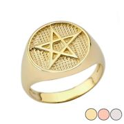 Solid Gold Pentagram Ring 14k Yellow/rose/white