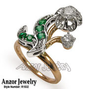 Russian Style Diamond And Emerald Ring In 18k Solid Rose And White Gold R1532