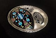 Az Native American Vintage Navajo Sterling Silver Turquoise Inlay Belt Buckle