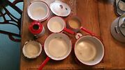Vintage Enamel Coffee Pot Saucepan White And Red Camping Lot Of 11 Collection