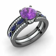 2.39 Ct Natural Amethyst Sapphire And Diamond Engagement Ring In 14k Black Gold