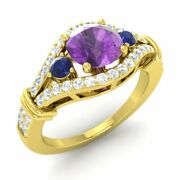 1.66 Ctw Natural Amethyst Engagement Ring 14k Yellow Gold W/ Sapphire Si Diamond