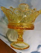 Rare Vintage Large Crown Design Footed Compote Pale Amber Glass