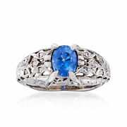Vintage Sapphire And Diamond Ring In Platinum Size 5.5
