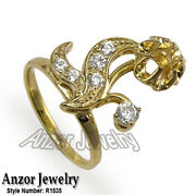 Russian Style Diamond Ring Semi-mount In 14k Solid Yellow Gold R1535