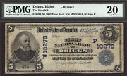 5 1902 The First National Bank Of Driggs, Idaho Ch 10278 Pmg 20 - Tough Bank