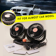 Dual Head 24v Car Fan 360° Rotatable Portable Vehicle Truck Auto Cooling Cooler