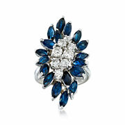 Vintage Sapphire And Diamond Cluster Ring In 14kt White Gold Size 6.5