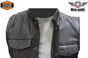 Menand039s Concealed Carry Premium Leather Club And Biker Vest - Size 54
