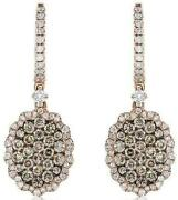 1.29ct White And Chocolate Fancy Diamond 14kt Rose Gold 3d Oval Hanging Earrings