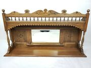 Antique Mirror Over Mantle Mirror Solid Oak Excellent Condition Usa Shipping