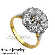 14k Solid Yellow And White Gold Genuine Diamond Ring Russian Style Jewelry R1701