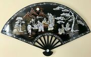 Mother Of Pearl Abalone Shell Black Lacquer Inlay Art Numbered Large Wall Fan