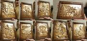 Rare Epic Wooden 3d Slavic Russian Pictures 12pcs Carved In Wood 14 Size.