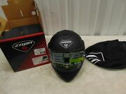 Zoan Solid Matte Black Full Face Motorcycle Dot Helmet Extra Small P/n 238-033
