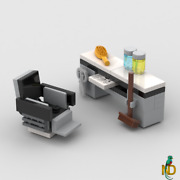 Lego Barber Shop Seat Minifig Salon Reclining Chair W/newspaperbrush And Scissors