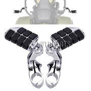 32mm Engine Guard Highway Foot Pegs Footrest Short Angled Clamp Chrome Universal