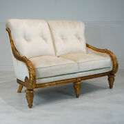 Beautiful 2 Seater Love Seat Made Of Mahogany With Stunning Antique Gold Leaf