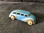 Vintage Barclay Bus Blue And Silver Slush Metal Rubber Wheels 1930and039s