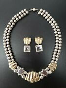Vintage Americana 18k Yellow Gold Sterling Silver Old Pawn Navajo Necklace Set
