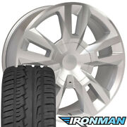 New 22x9 Silver Rims For Chevy Tahoe W/machined Wheels And Ironman Tires Set