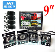 Hd 1080p 4ch 9 Monitor Bus Truck Tractor Backup System 4x Rear View Camera Kit