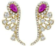 1.28ct Diamond And Aaa Ruby 14kt Yellow Gold Multi Leaf Clip On Hanging Earrings