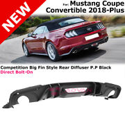 Big Fin Style Diffuser For Ford 18+ Convertible Coupe Matte Black Rear