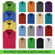 Menand039s Button Up Formal Dress Shirt Long Sleeve Solid Color Regular Fit