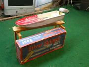 Toy Metal Boat Silver Skipper Wand039 Rare Evenrude Motor And Box. Reeves Products Usa