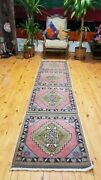 Vintage 1950-1960and039s Bohemian Oushak Runner 1and0394 Andtimes 9and0392