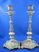 Gorgeous Pair Of Bronze Candlesticks Candleabra Old Europe 10.5