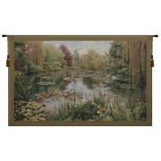 Lake At Giverny Water Lilies Garden Monet European Woven Tapestry Wall Hanging