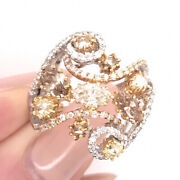 2.02ct Fancy Color Marquise Pear And Round Cut Diamond Right-hand Ring